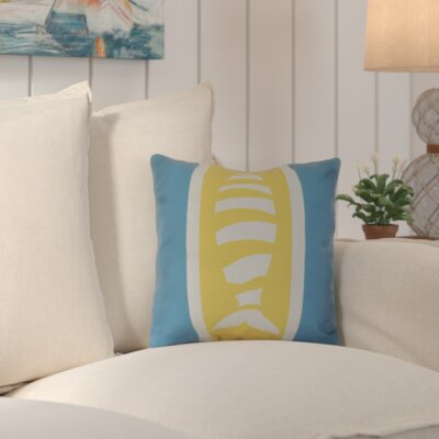 Golden Gate Puzzle Fish Throw Pillow Size: 26 H x 26 W x 3 D, Color: Turquoise/Yellow