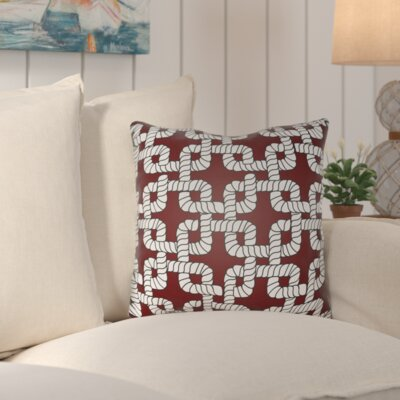 Kirkham Rope Indoor/Outdoor Throw Pillow Size: 20 H x 20 W x 4 D, Color: Red