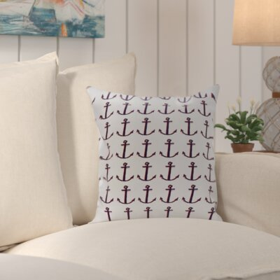 Callahan Coastal Print Outdoor Pillow Color: Navy / Off White, Size: 18 H x 18 W x 1 D