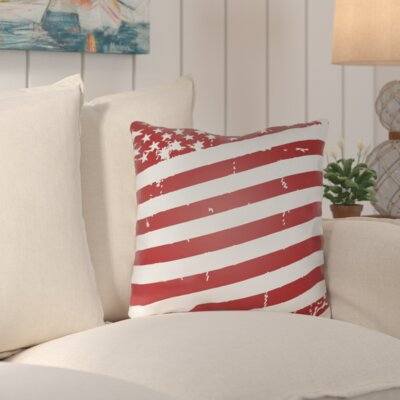 Saratoga Americana III Indoor/Outdoor Throw Pillow Size: 20 H x 20 W x 4 D, Color: Red