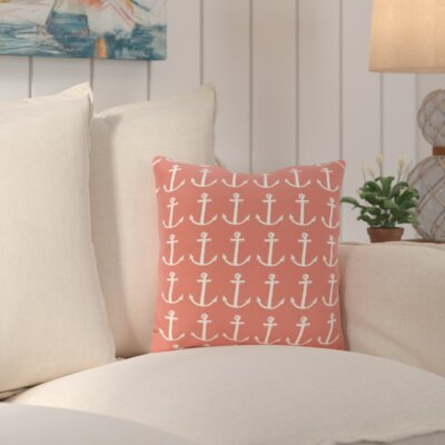 Callahan Outdoor Square Throw Pillow Color: Coral