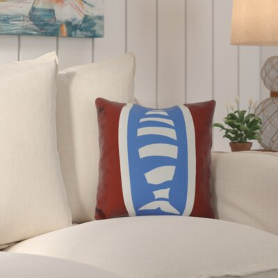 Golden Gate Puzzle Fish Throw Pillow Size: 26 H x 26 W x 3 D, Color: Red/Blue
