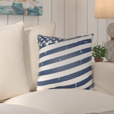 Saratoga Americana III Indoor/Outdoor Throw Pillow Size: 18 H x 18 W x 4 D, Color: Blue