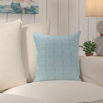 Callahan Coastal Print Outdoor Pillow Color: Blue, Size: 18 H x 18 W x 1 D