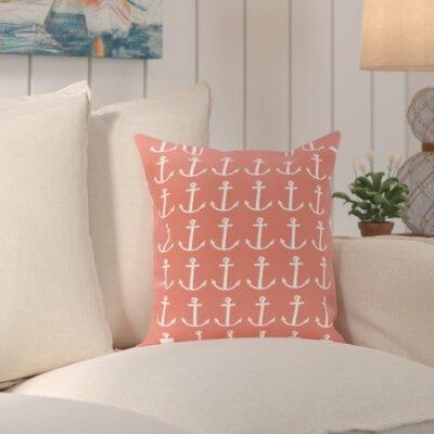 Sandybrook Away Coastal Print Outdoor Pillow Size: 18 H x 18 W x 1 D, Color: Coral
