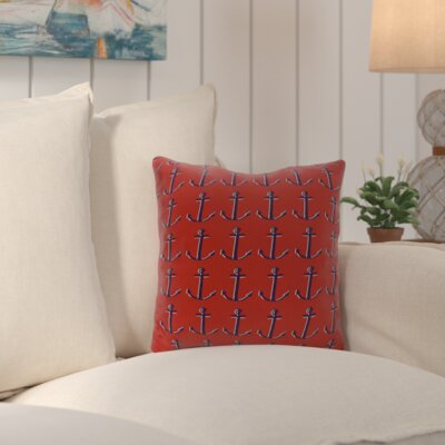 Callahan Outdoor Square Throw Pillow Color: Red
