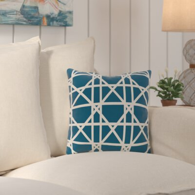 Cabana Colony Geometric Outdoor Throw Pillow Color: Teal