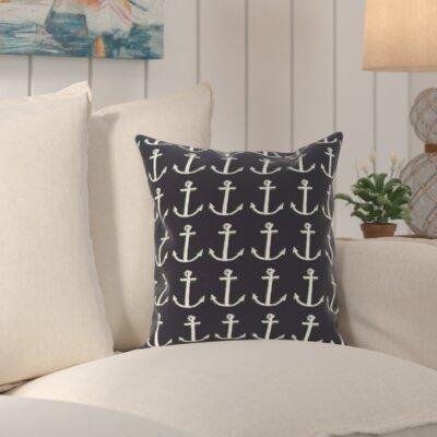 Sandybrook Away Coastal Print Outdoor Pillow Size: 18 H x 18 W x 1 D, Color: Navy Blue