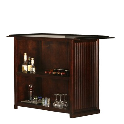 Meredith Bar with Wine Storage Door Type: None, Finish: Smoky Blue