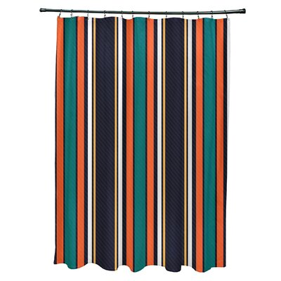 Petersfield Multi-Stripe Shower Curtain Color: Orange