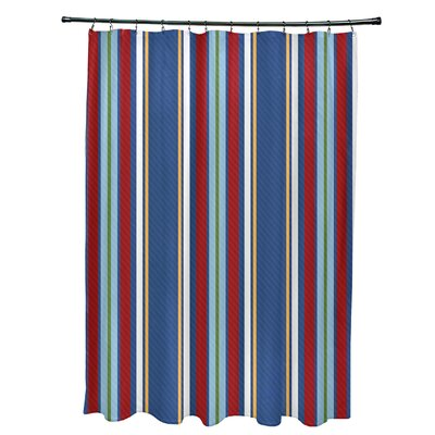 Petersfield Multi-Stripe Shower Curtain Color: Blue