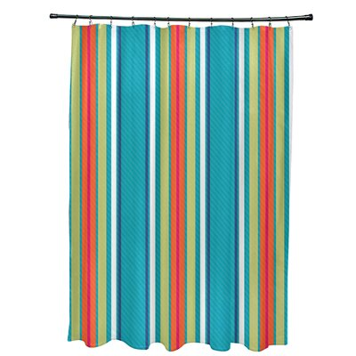 Petersfield Multi-Stripe Shower Curtain Color: Turquoise