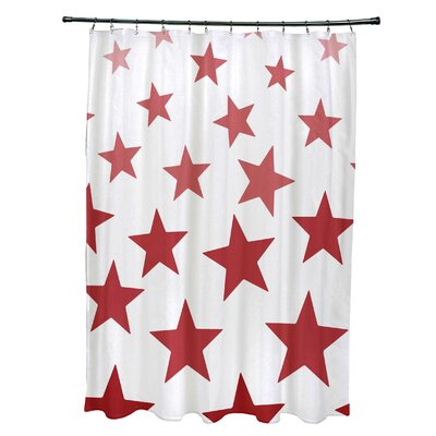Petersfield Just Stars Shower Curtain Color: Red