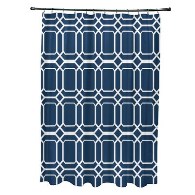 Golden Gate Contemporary Geometric Shower Curtain Color: Blue