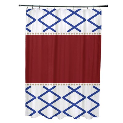 Bartow Knot Fancy Shower Curtain Color: Red/Blue
