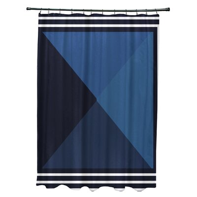 Bartow Nautical Angles Shower Curtain Color: Navy Blue