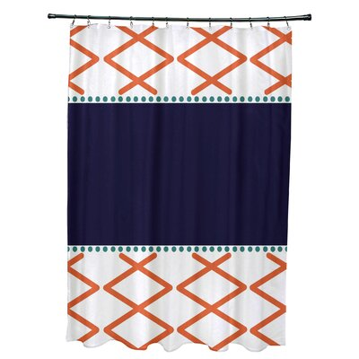 Bartow Knot Fancy Shower Curtain Color: Orange/Navy Blue