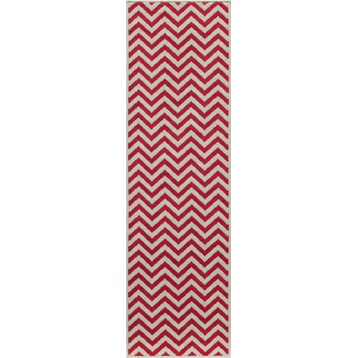 Halliday Red Chevron Indoor/Outdoor Area Rug Rug Size: 23 x 46