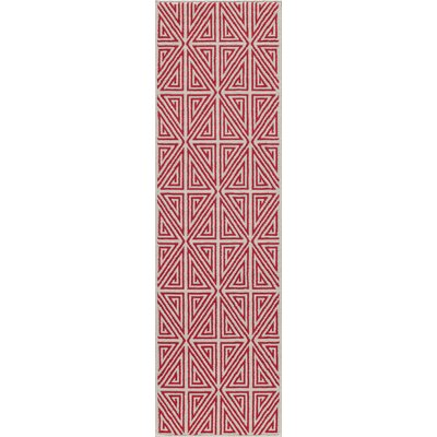 Halliday Red Trellis Indoor/Outdoor Area Rug Rug Size: Rectangle 53 x 76
