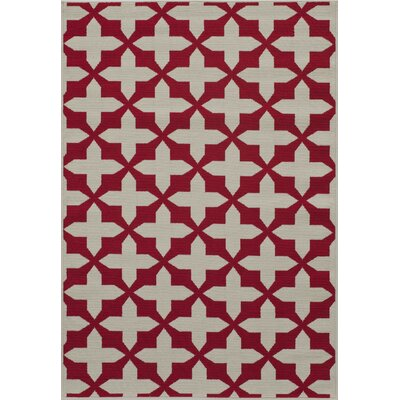 Halliday Red/Tan Indoor/Outdoor Area Rug Rug Size: Rectangle 53 x 76