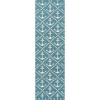 Halliday Blue/Ivory Indoor/Outdoor Area Rug Rug Size: Runner 23 x 76