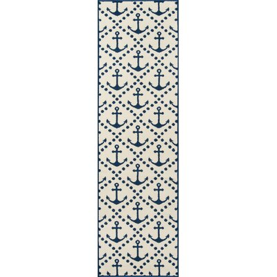 Halliday Traditional Ivory/Navy Indoor/Outdoor Area Rug Rug Size: Runner 23 x 76