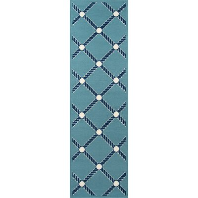 Halliday Blue/White Indoor/Outdoor Area Rug Rug Size: Runner 23 x 76
