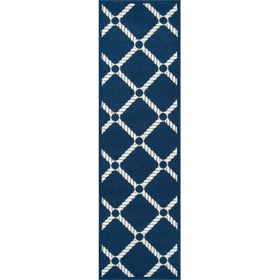 Halliday Navy/Ivory Indoor/Outdoor Area Rug Rug Size: Runner 23 x 76