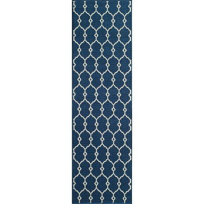 Halliday Ivory/Navy Indoor/Outdoor Area Rug Rug Size: Runner 23 x 76