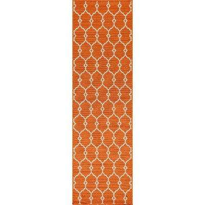 Halliday Traditional Orange Indoor/Outdoor Area Rug Rug Size: Runner 23 x 76