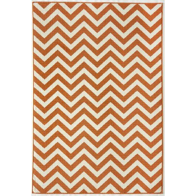 Halliday Orange/Ivory Indoor/Outdoor Area Rug Rug Size: Rectangle 23 x 46