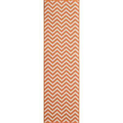 Halliday Orange/Ivory Indoor/Outdoor Area Rug Rug Size: Runner 23 x 76