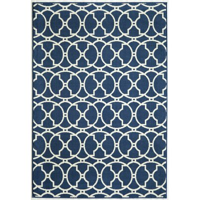 Halliday Traditional Navy Indoor/Outdoor Area Rug Rug Size: Rectangle 18 x 37