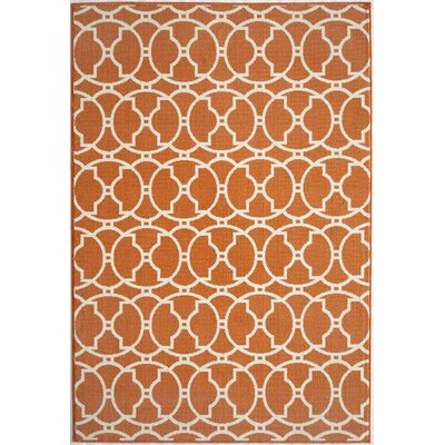 Halliday Orange Geometric Indoor/Outdoor Area Rug Rug Size: 53 x 76