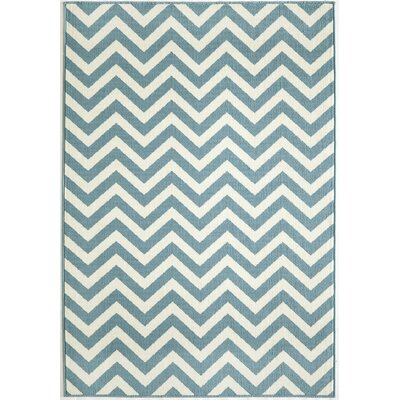 Halliday Blue/Cream Indoor/Outdoor Area Rug Rug Size: Rectangle 53 x 76