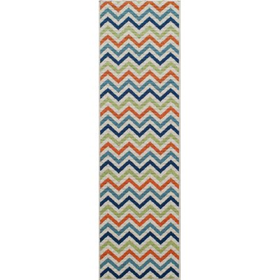 Norris Green/Blue Indoor/Outdoor Area Rug Rug Size: 53 x 76