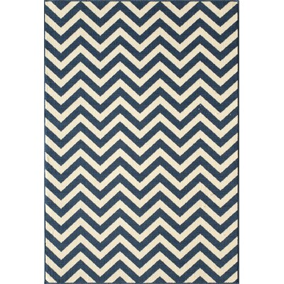 Halliday Navy/White Area Rug Rug Size: Rectangle 18 x 37
