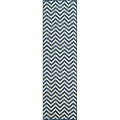 Halliday Navy/White Area Rug Rug Size: 53 x 76