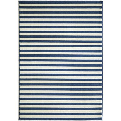 Halliday Navy/Cream Indoor/Outdoor Area Rug Rug Size: Rectangle 18 x 37