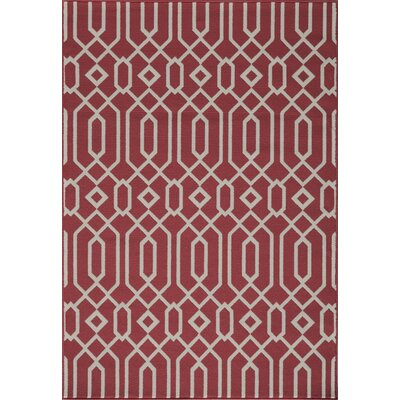 Halliday Traditional Red Geometric Indoor/Outdoor Area Rug Rug Size: Rectangle 53 x 76