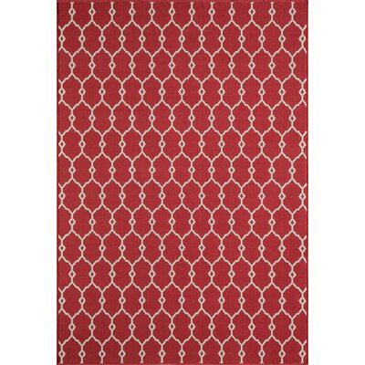 Halliday Red Geometric Indoor/Outdoor Area Rug Rug Size: Rectangle 53 x 76