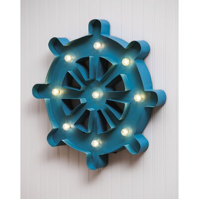 Blue Metal Ships Wheel Wall Décor