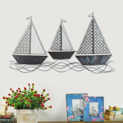 Decorative Distressed Three Sailboats Iron Widget Wall Décor