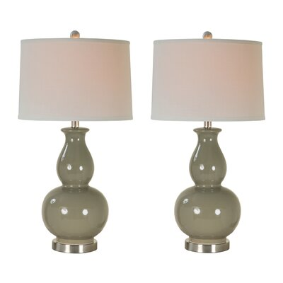 Petronia 28.5 Table Lamp Set Base Color: Gray