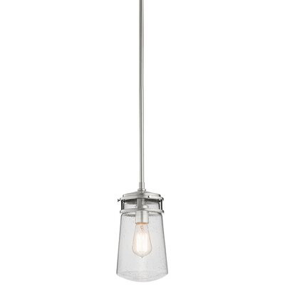 Dunkirk 1-Light Mini Pendant Size: 11.75 H x 6 W x 6 D, Finish: Brushed Aluminum