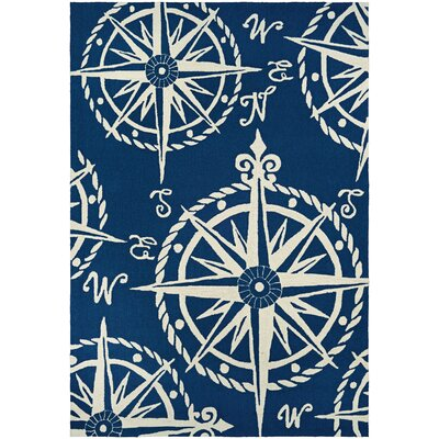Beaufort Hand-Hooked Navy/Beige Indoor/Outdoor Area Rug Rug Size: 36 x 56