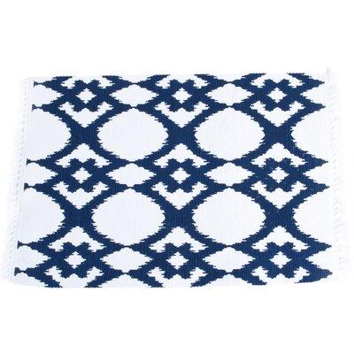 Oleander Ikat Design Ribbed Placemat Color: Navy Blue BRWT7041 34396154