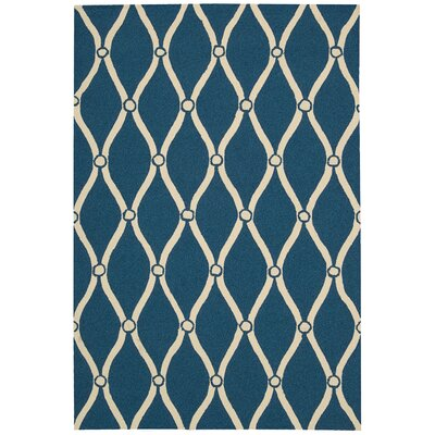 Merganser Hand-Tufted Navy/Beige Indoor/Outdoor Area Rug Rug Size: 36 x 56