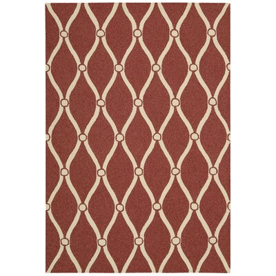 Merganser Hand-Tufted Red/Beige Indoor/Outdoor Area Rug Rug Size: 23 x 39