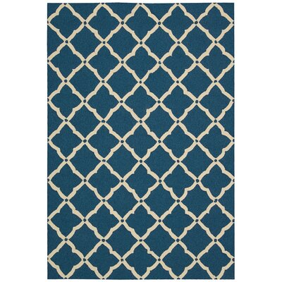 Merganser Hand-Tufted Navy/Beige Indoor/Outdoor Area Rug Rug Size: 23 x 39